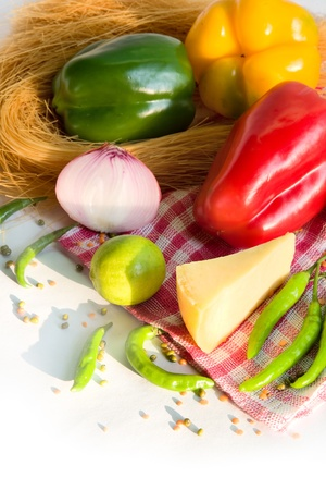 chees: fresh homegrown vegetables and chees