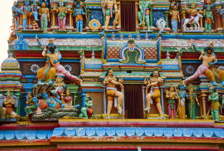 Gopuram with statues of hindu gods in Negombo, Sri Lanka  photo
