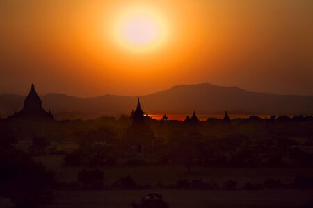 12th century: Famous Temples of Baganat at sunset, Myanmar (Birma),  12th Century