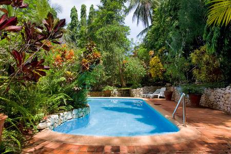 tangalle: beautiful swimming pool in tropical resort , Tangalle, Sri Lanka Editorial