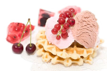 teaparty: dessert consist of currant, ise-cream, cherry and waffles