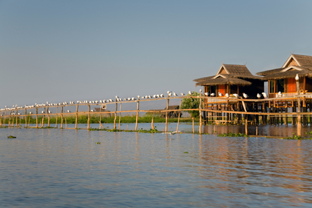 lake dwelling: Village house on Inle lake standing on stilt and made from bamboo