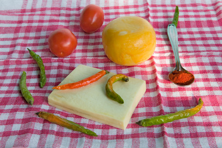homegrown: fresh homegrown  red and green  chile pepper and cheese