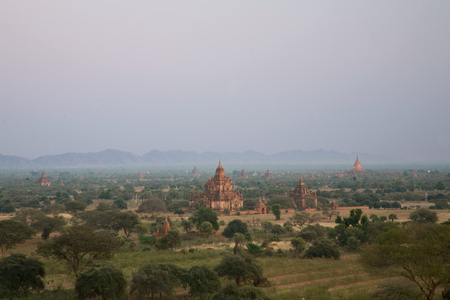 ligh: View of the Plain of Bagan  at day ligh,  Myanmar.