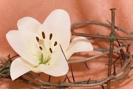 viernes santo: Corona de espinas, crucifijo y lirio blanco de Pascua