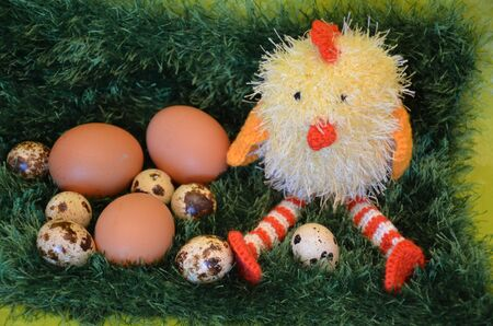 eastertime: Easter scene with chick  and eggs in the spring meadow.