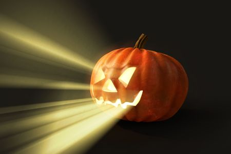 ghostly: horrifying pumpkin Stock Photo