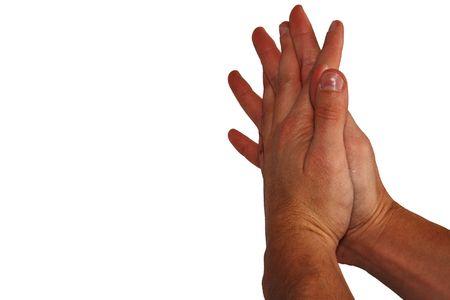 male hands folded in prayer photo