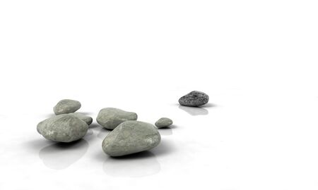 spot the difference: stones scattered on white reflected background Stock Photo