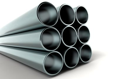 clean new metal 3d pipes Stock Photo - 2880504