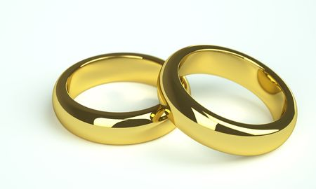 christian marriage: two golden wedding rings