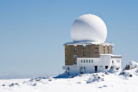 meteorological: meteorological station high in the mountain Stock Photo