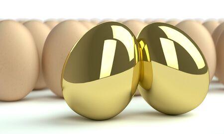 huevos de oro: dos huevos de oro y grupo de huevos en blanco