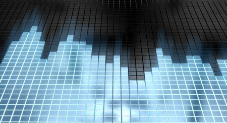 digital mixer: abstract sound equalizer with glowing blue cubes