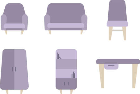icon set of furniture vector color for web