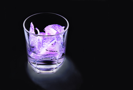 ultraviolet: Cocktail with mint in the ultraviolet