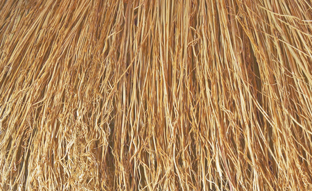 hayloft: background in the form of straw, dried grass, broom Stock Photo