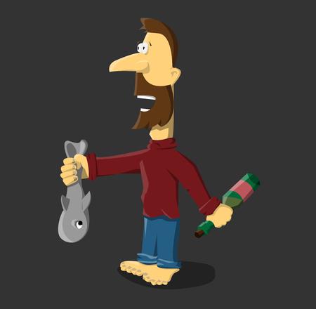 tipsy: vodka and fishing Illustration