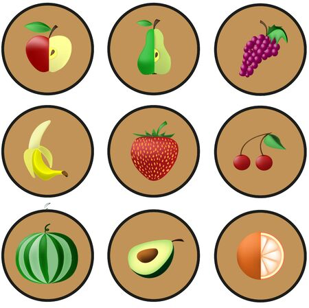 exotic fruits: Icon of exotic fruits