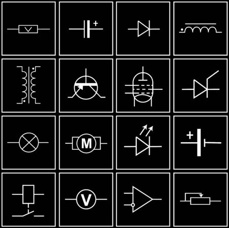 logos, symbols of electronic components on circuit diagrams