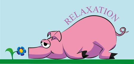 swines: pink pig lying and resting on the grass and smelling a flower