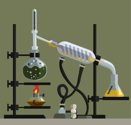 destilacion: aparato para la destilación, purificación y separación de líquidos volátiles. La instalación consiste en matraz de fondo redondo, condensador de reflujo, termómetro, refrigerador espiral, matraz de fondo plano y alonzha