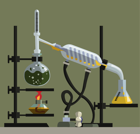 reflux: apparatus for distillation, purification and separation of volatile liquids. The installation consists of round-bottom flask, reflux condenser, thermometer, spiral refrigerator, flat-bottomed flask and alonzha