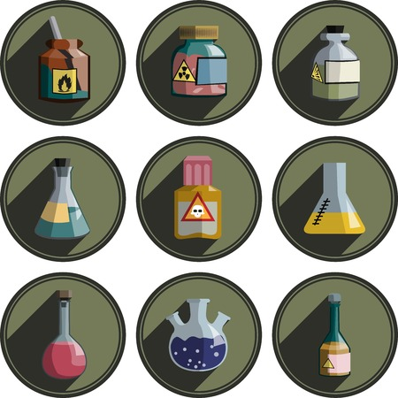 glassware: different icon on chemistry and laboratory glassware.
