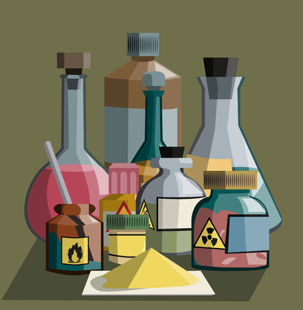 reagent: composition of various glassware: conical and flasks, bottles,