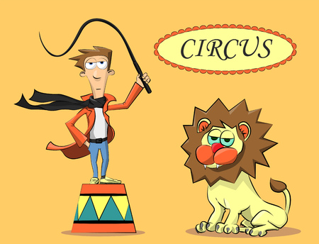 circus performer: circus performer trying to train a lion, and he can not be