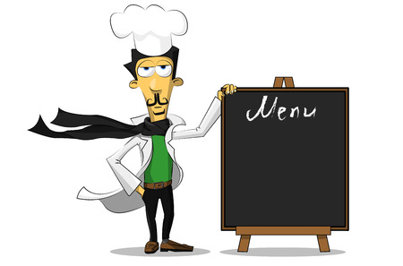 italian chef: Italian chef standing next to a sign on which is written the menu