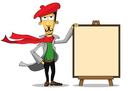 smock: the artist stands next to the canvas Illustration