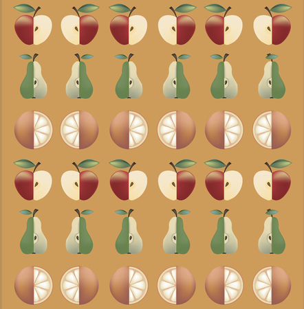 apples and oranges: pattern of alternating rows of apples, pears and oranges