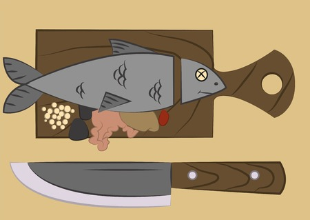 salmon steak: fish with a severed head lying on a cutting board
