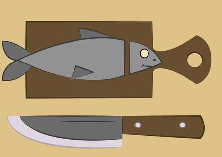 severed: fish with a severed head lying on a cutting board