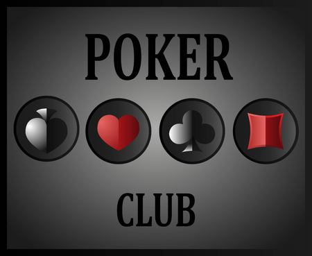 wagers: Poker club with the image of card suits and inscriptions