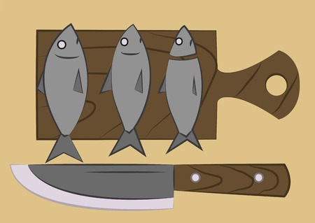 to lie: three gray fish lie on a chopping board Illustration