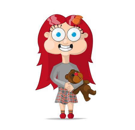 redheaded girl in a gray blouse and a skirt in a cage holding a teddy bear
