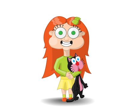 red-haired girl holding a black cat and does not let go