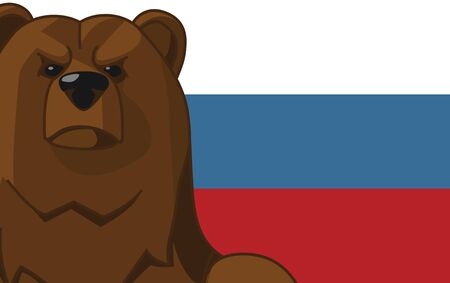 russian flag: Bear on the background of Russian flag Illustration