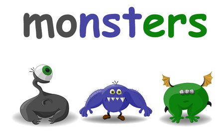 Set of three different different color monsters
