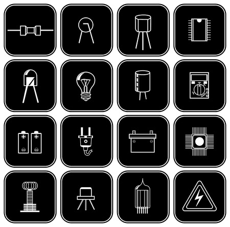 set of sixteen different electrical parts in the form of silhouettes on a black background
