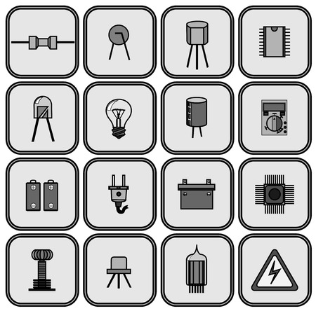 electrical parts: set of sixteen different electrical parts in shades of gray on a gray background