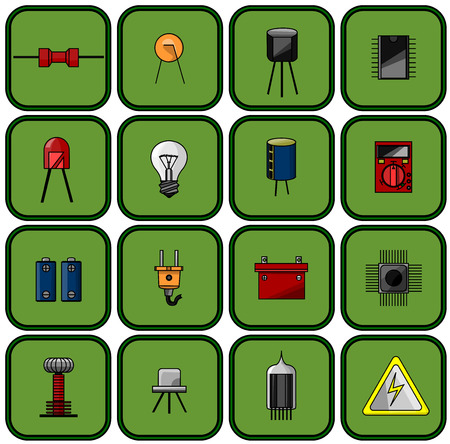 set of sixteen different colored electrical parts on a green background