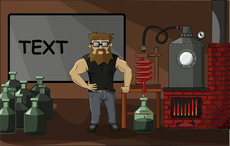 stove pipe: bearded chemist drug dealer on a background of drug labs Illustration