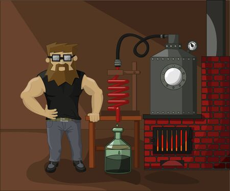 moonshine: bearded chemist drug dealer on a background of drug labs Illustration