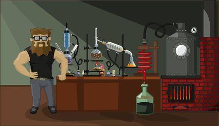 condenser: bearded chemist drug dealer on a background of drug labs Illustration
