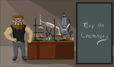 synthesis: bearded chemist drug dealer on a background of drug labs Illustration