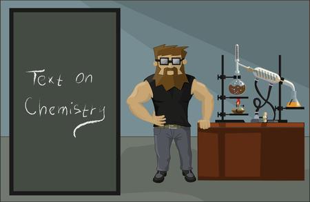 drug dealer: bearded chemist drug dealer on a background of drug labs Illustration