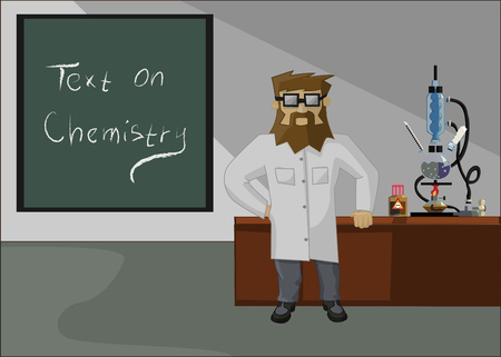 hermetic: bearded chemist on the background of the laboratory and laboratory glassware